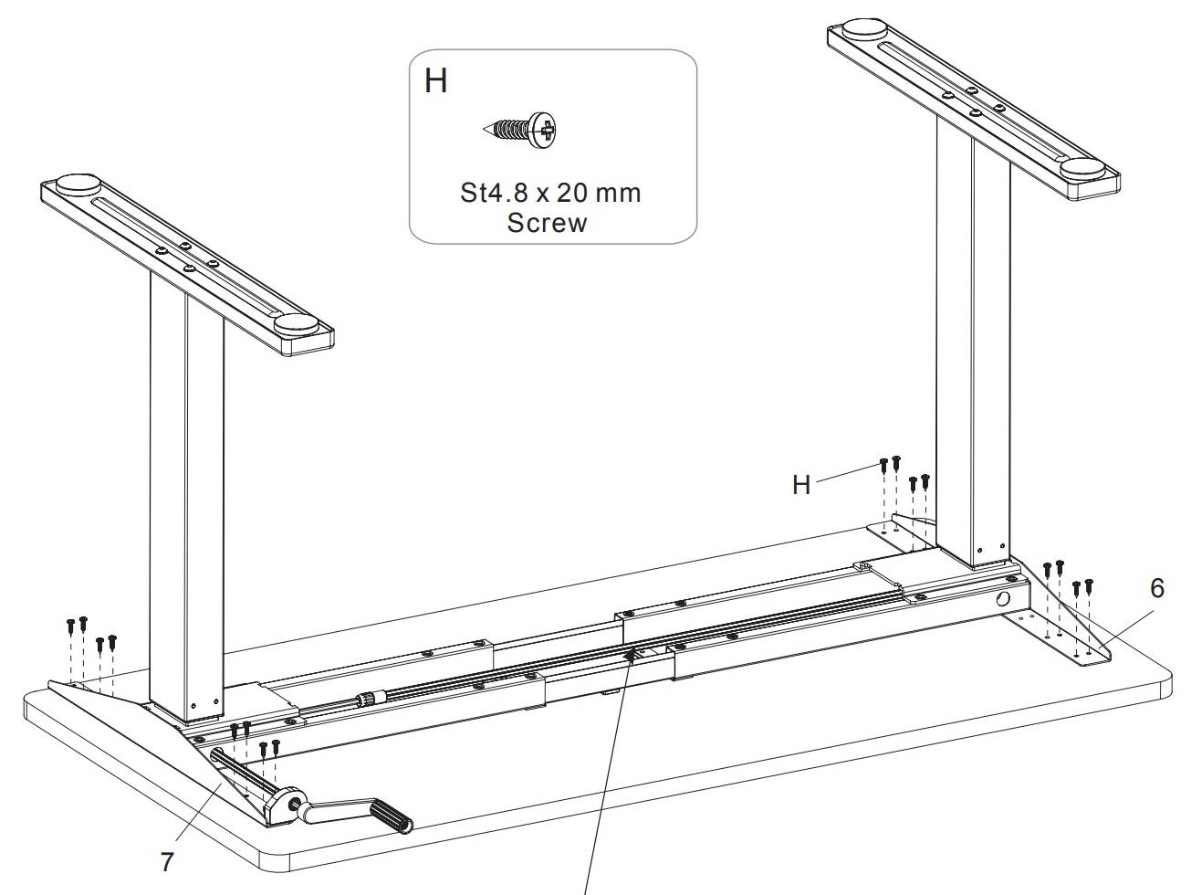 Flexispot frames attach to the table top with woodscrews